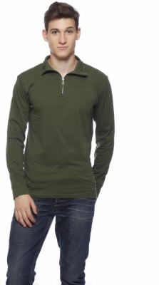 Gritstones Solid Men's V-neck Dark Green T-Shirt