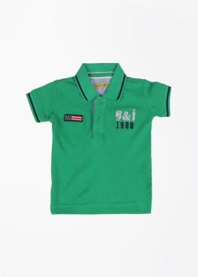 Gini & Jony Solid Baby Boy's Polo Neck Green T-Shirt