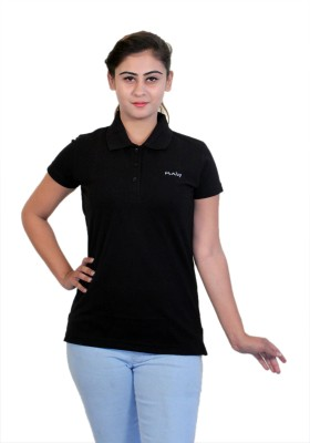 WASP Embroidered Women's Polo Neck Black T-Shirt