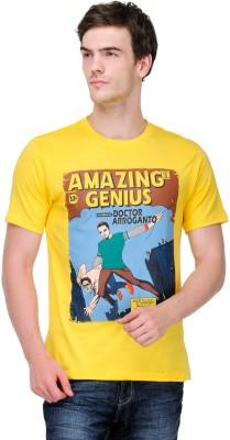 White Kalia Graphic Print Men,s Round Neck Yellow T-Shirt