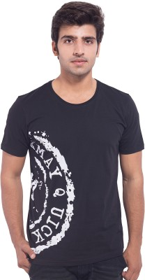 Nimbus Printed Men's Round Neck Black T-Shirt