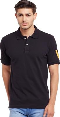 The Vanca Solid Men's Polo Neck Black T-Shirt