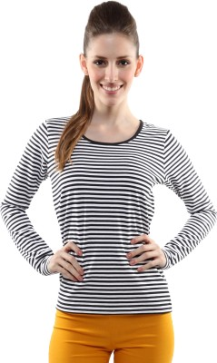 Miss Chase Casual Full Sleeve Striped Women's Black, White Top at flipkart