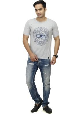 inkdice Solid, Printed Men,s Round Neck Grey, Blue T-Shirt