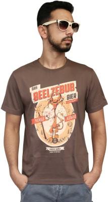 Contraband Graphic Print Men's Round Neck Brown T-Shirt