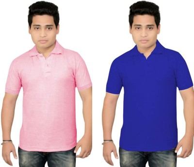 BrandTrendz Solid Men's Polo Neck Pink, Blue T-Shirt