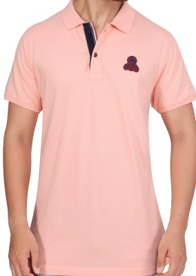 Stoke Solid Men's Polo Neck Pink T-Shirt