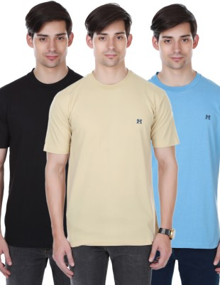Cotton County Premium Solid Men's Round Neck Beige, Black, Light Blue T-Shirt