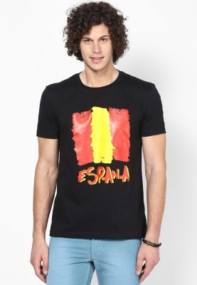 Blotch Printed Men's Round Neck Black T-Shirt