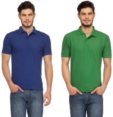 Davie Jones Solid Men's Polo Neck Green, Blue T-Shirt