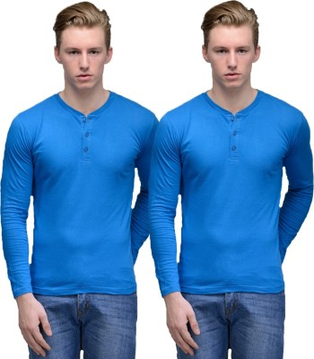 Feed Up Solid Men's Henley Blue, Blue T-Shirt