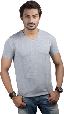 Spur Solid Men's V-neck Grey T-Shirt