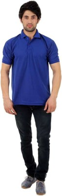 Fashion World Solid Men's Mandarin Collar Blue T-Shirt