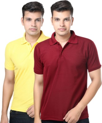 eSOUL Solid Men's Polo Neck Maroon, Yellow T-Shirt