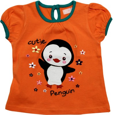 Juscubs Solid Baby Girl's Round Neck Orange T-Shirt