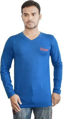 Al-Harsha Trend Solid Men's V-neck Blue T-Shirt