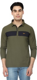 Stellers Solid Men's Polo Neck Dark Green T-Shirt
