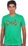 Amla Printed Men's Round Neck Green T-Sh...