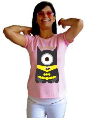 LetsFlaunt Printed Women's Round Neck Pink T-Shirt