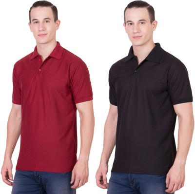 Randier Solid Men's Polo Neck Maroon, Black T-Shirt