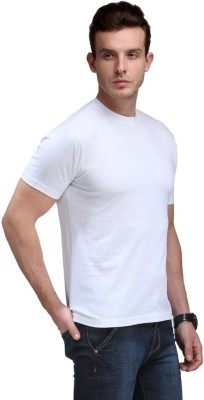 Fashion World Solid Men's Round Neck Black, White, Yellow T-Shirt