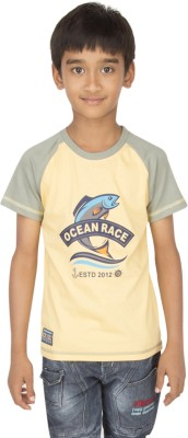 Ocean Race Printed Boy's Round Neck Yellow, Grey T-Shirt