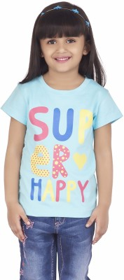 Super Young Printed Girl's Round Neck Multicolor T-Shirt