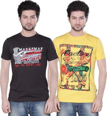 Zebu Printed Men's Round Neck Multicolor T-Shirt