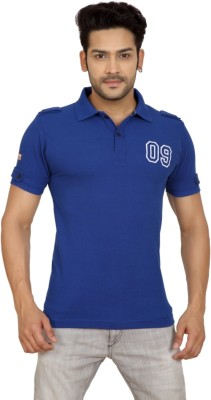 Goplay Solid Men's Polo Neck Blue T-Shirt