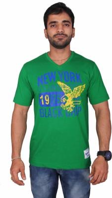 Black Chip Printed Men's V-neck Green T-Shirt