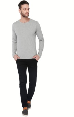 Dennis Lingo Solid Men's Round Neck Grey T-Shirt