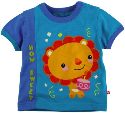 Fisher-Price Printed Boy's Round Neck Blue T-Shirt