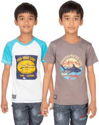 Ocean Race Graphic Print Boy's Round Neck White, Brown T-Shirt