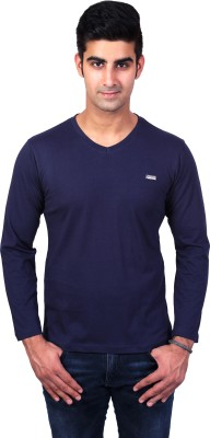 Bridge Solid Men's V-neck Blue T-Shirt