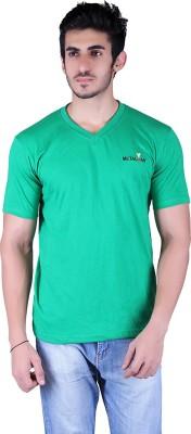 Metaloak Embroidered Men,s V-neck Green T-Shirt