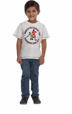 Trmpi Graphic Print Boy's Round Neck White T-Shirt