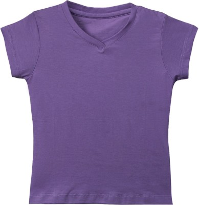 F Fashionstylus Solid Girl's V-neck T-Shirt