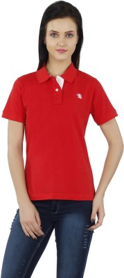 The Cotton Company Solid Women's Polo Neck Red T-Shirt