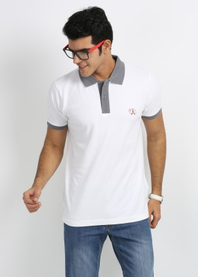 27Ashwood Solid Men's Polo White, Grey T-Shirt