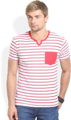 Thisrupt Striped Men's Round Neck Red T-Shirt