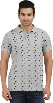 AG Printed Men's Polo Neck Grey, Black T-Shirt