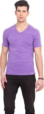 Smokestack Solid Men's V-neck Purple T-Shirt