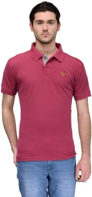 Canary London Solid Men's Polo Maroon T-Shirt
