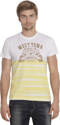 Sting Printed Men's Round Neck Yellow T-Shirt