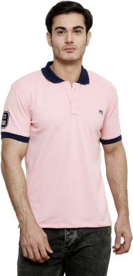 ominous Solid Men,s Polo Neck Pink T-Shirt