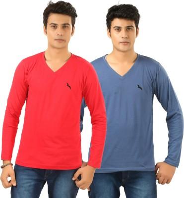 BrownBird Solid Men's V-neck Red, Blue T-Shirt