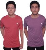 Dyed Colors Self Design Men's Round Neck...