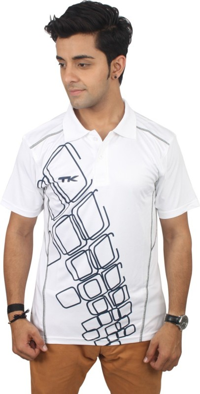 TK Solid Men's Polo Neck White T-Shirt