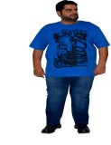 XMEX Printed Men's Round Neck Light Blue...