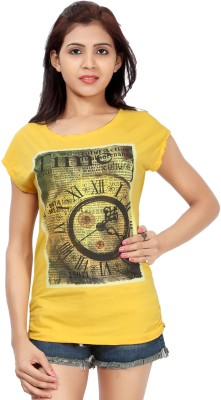 Comix Graphic Print Women's Round Neck Yellow T-Shirt